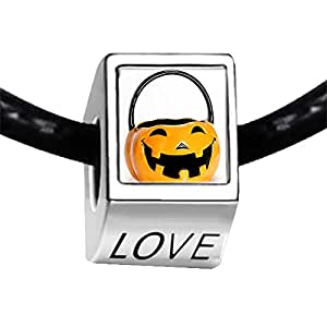 Chicforest Silver Plated Happy Halloween Jack O lantern pumpkin Photo LOVE Charm Beads Fits Pandora Charm Bracelet
