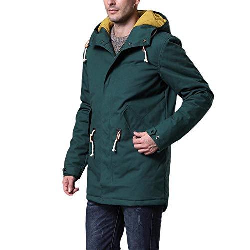 Cappuccio Giacca Di Casual Army Uomo Shennanji Manica Cotone Spesso Moda Collo Lunga Con Pelliccia Autunno Inverno Green Zx8x7vq