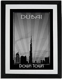 Dubai Skyline Down Town - Black And White F01-m (a1) - Framed