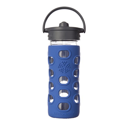 Lifefactory 12-Ounce BPA-Free Glass Water Bottle with Straw Cap and Protective Silicone Sleeve, Cobalt
