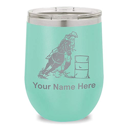 Wine Glass Tumbler, Barrel Racer, Personalized Engraving Included (Teal) -