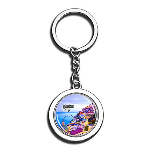 Gulf of Naples Amalfi Italy 3D Crystal Creative Keychain Spinning Round Stainless Steel Key Chain Ring Travel City Souvenir Collection]()