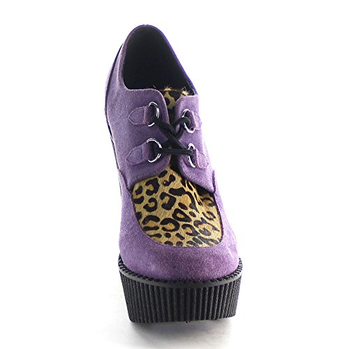 Suede Demonia Purple Pony Creeper leopardo stampato 304 Vegan nxvrxSITO