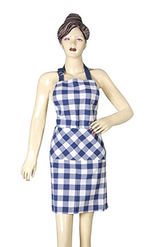 Cotton Clinic 2 Piece Set Adjustable Buffalo Check Plaid Aprons with Pocket and Extra-Long Ties 32