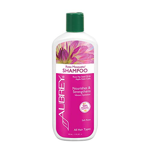 Aubrey Rosa Mosqueta Shampoo | Nourishes & Strengthens | Rose Hip Seed Oil & Apple Stem Cells | 75% Organic Ingredients | All Hair Types | 11oz