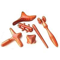 Set de 6 piezas. Reflexología Masaje tailandés tradicional Palo de madera Herramienta Mano Cabeza Pie Cara Cuerpo Masaje Herramienta Masajeador Madera roja