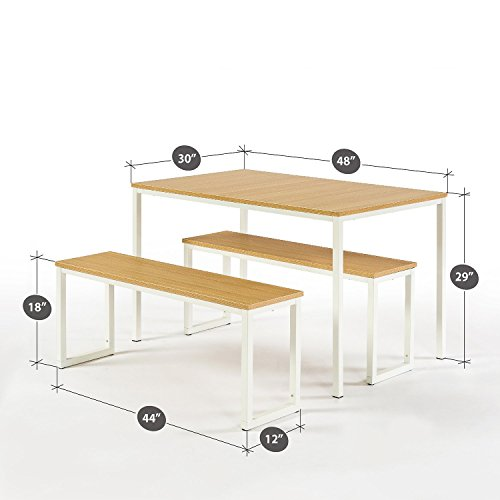 Zinus Louis Modern Studio Collection Soho Dining Table with Two Benches / 3 piece set, White by Zinus (Image #2)