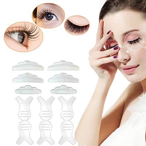 6 Pcs Silicone Eyelash Perming Curler Shield Pads and 6 Pcs Eyelash Extension Lash Y Brushes,Lash Lift Rods Makeup Beauty Tool,Makeup Utensil Reusable Lash Lifting Supplies