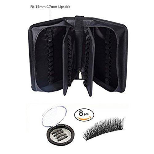 ROWNYEON Portable Lipstick Tester Case Lipstick Stock Case(70 Slot Golden zipper black) + ROWNYEON Magnetic Eyelashes Dual Magnetic False Eyelashes (4 Pairs,16Pieces)… -
