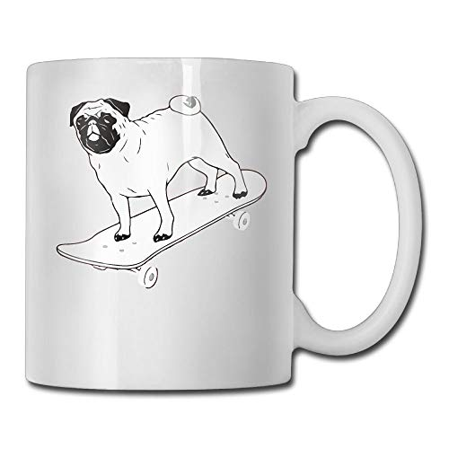Skateboard Pug Puppy Dog Funny Coffee Mug Cool Coffee Tea Cup 11 Ounces Perfect Gift for Family and Friend