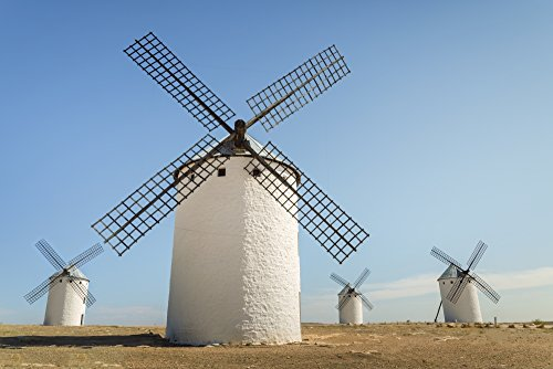 Posterazzi DPI12305376 Famous Windmills in Campo Criptana Where The Stories of Don Quixote Come from Ciudad Real Castilla-La Mancha Spain Poster Print, 19 x 12