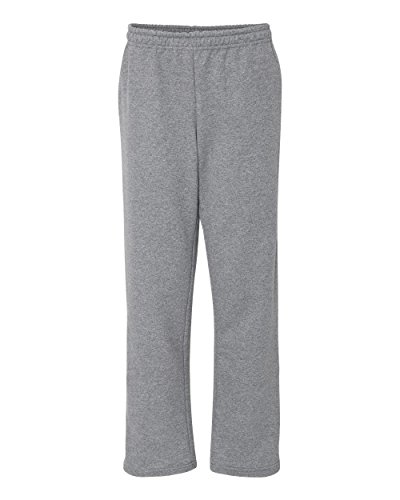 Gildan Adult Heavy Blend 8 oz Open-Bottom Sweatpants with Pockets - GRAPHITE HEATHER - S - (Style # G183 - Original (Polyester 8 Ounce Sweatpants)