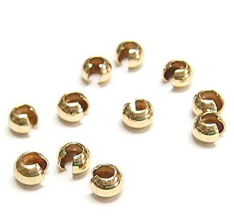 20 pcs 14k Gold Filled Crimp Bead Round Knot Covers 3mm / Findings / Yellow Gold - Beads And Findings