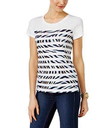 Michael Kors Cotton Striped Zebra-Print T-Shirt (Cloud, PL) - Michael Kors Zebra