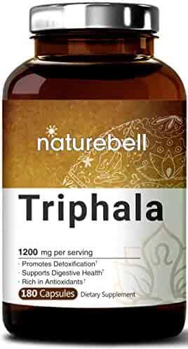 Maximum Strength Triphala 1200mg, 180 Capsules, Powerfully Supports Digestive Health, Weight Loss, Fat Burn and Detoxification, No GMOs and Made in USA