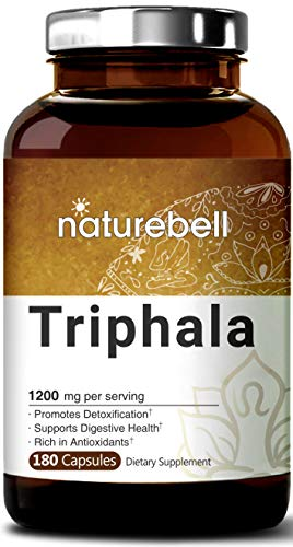 NatureBell Triphala 1200mg, 180 Capsules, Powerfully Supports Digestive Health, Weight Loss, Fat Burn and Detoxification, No GMOs and Made in USA