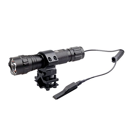 CISNO Cree T6 LED 1000LM Tactical Flashlight Light+Pressure Switch for Picatinny Quad Rail with Barrel Mount