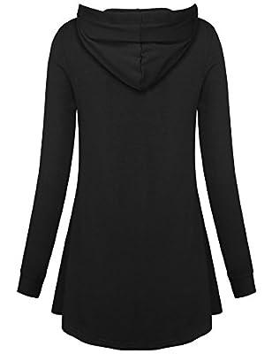 Gaharu Women's Long Sleeve Button V-Neck Pleated Hooded Tunic Sweatshirt With Pockets