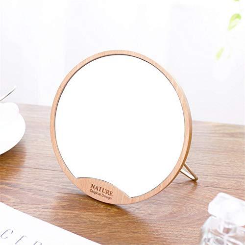 Mesa redonda de madera Espejo de escritorio Espejo de maquillaje ...