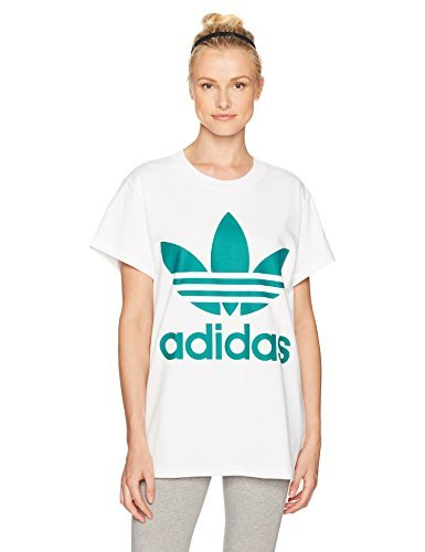 Adidas Rose Logo T-shirt - adidas Originals Women's Tops Big Logo Trefoil Tee, White/Sub Green, XX-Small (XX-Small, White/Sub Green)