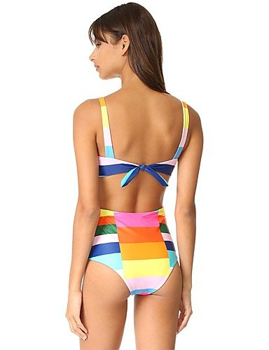 HHBO Mujer Con Cordones Una Pieza Floral Geométrico Deporte Monocolor Estampado rainbow