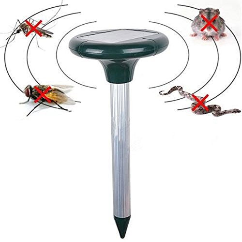 Solar Power Eco-Friendly Ultrasonic Gopher Mole Fly Snake Mosquito Cockroach Insects Mouse Rat Rodent Reject Repel Pest Repeller for Lawn Garden Yard