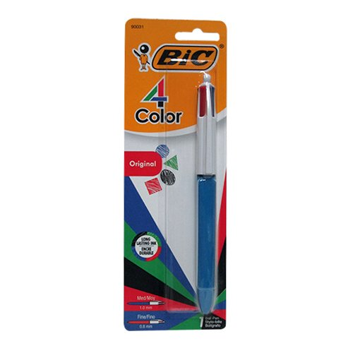 BIC 4-Color Ball Point Pen, Twelve 1 Count Packs, 12 Total (MMXP11 - Ast)