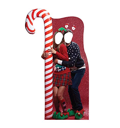 Advanced Graphics Ugly Christmas Sweater with Candy Cane Life Size Cardboard Cutout Stand-in (For Excited Faces Christmas)