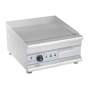Royal Catering - RCG 50 - Doble plancha grill eléctrica - 50 cm - 230 V - 2 x 3200 W - placa lisa + acanalada - Envío Gratuito