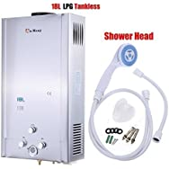 Ridgeyard 18L / 4.75GPM LPG Propane Gas Tankless Instant Hot Water Heater With Shower Head Indoor Bathroom Supplies