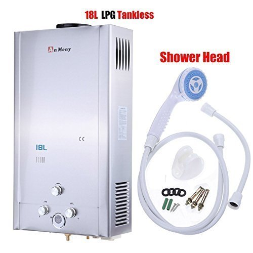 Ridgeyard 18L/4.75GPM LPG Propane Gas Tankless Instant Hot Water Heater With Shower Head