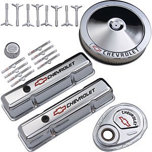 Dress Up Small Kit Block - Proform 141-900 Chrome Engine Dress-Up Kit with Black Chevrolet/Red Bowtie Logo for Small Block Chevy