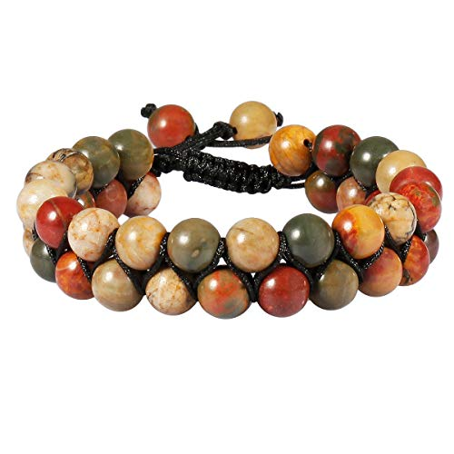 TUMBEELLUWA Beaded Bracelet Stone 8mm Double Layers Adjustable Meditation Power Healing Crystal Bracelets,Picasso Jasper ()