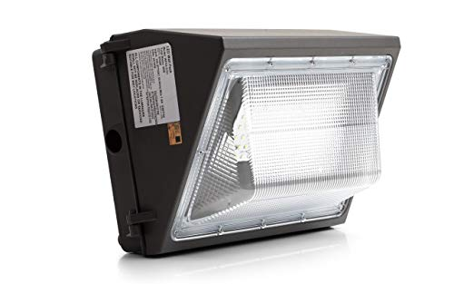 Bakersmith LED Wall Pack, 60W, 5000K, 80 CRI, 120-277V, 6600 Lumens, 50W Fixture, 260-325W HPS/HID Replacement, 5000K, 6500 Lumens, Commercial and Industrial Outdoor Lighting, IP65 Waterproof, DLC&UL