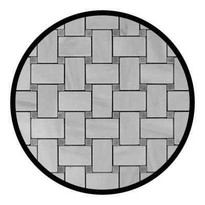 Carrara Marble Italian White Bianco Carrera Basketweave Mosaic Tile with Bardiglio Gray Dots Honed by Marble 'n things