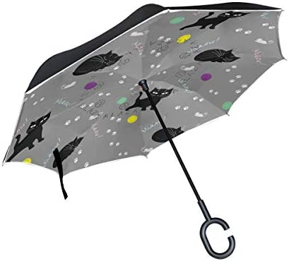 rodde Cats for Rain Outdoor mit C-förmigem Griff Doppelschicht-Umkehrschirme Windproof Clear Reverse