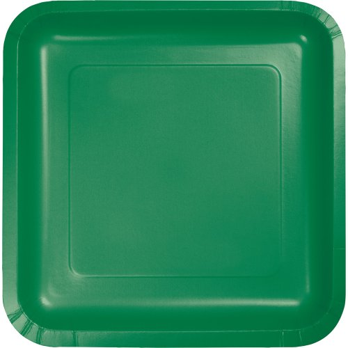 Touch of Color Square Paper Dessert Plates, 180-Count, Emerald Green