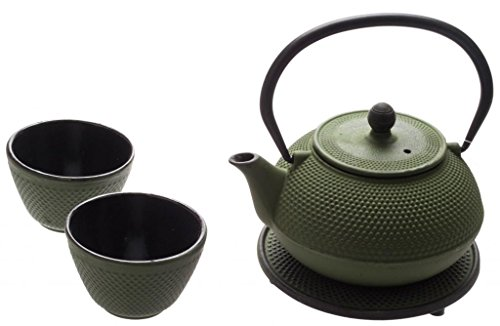 New Star International T8030 Cast Iron ARR Tea Set with Trivet, 21 Ounce, Green ()