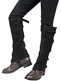 Derby Suede Leather Half Chaps with Velcro Closure for Horse Riding or Motorcycle Use