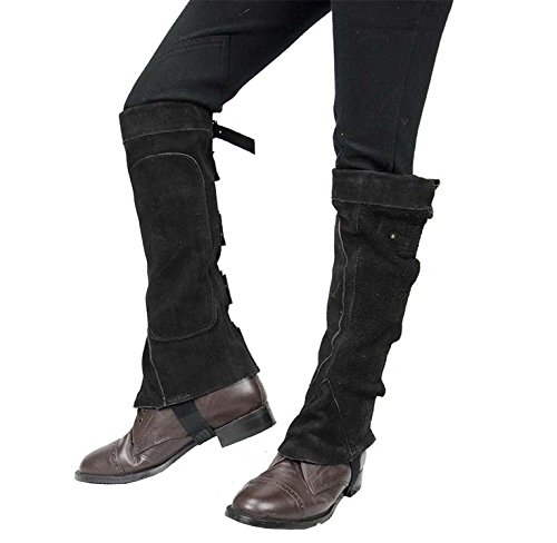 Spats Saddle Shoe (Derby Suede Leather Half Chaps with Velcro Closure for Horse Riding or Motorcycle Use)