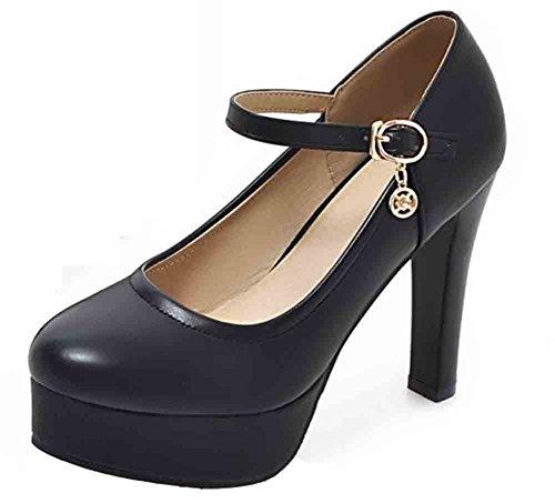 Easemax Womens Tacco A Spillo Tacco Alto Cinturino Alla Caviglia Con Cinturino Alla Caviglia E Tacco Grosso Nero