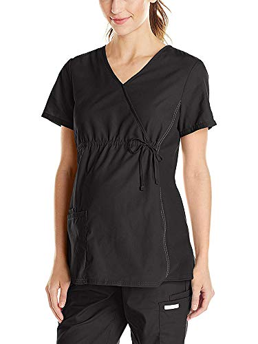 Mock Wrap V-neck Scrub Top - Grey's Anatomy Women's V-Neck Maternity Mock Wrap Scrub Tops Black Tag 3XL