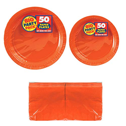 Serves 50 | Big Party Pack Orange 50-Set (Dinner Plates, Dessert Plates, Luncheon Napkins) Party Avenue Bundle-Pack | Complete Party Pack | Bridal parties, Office parties, Birthday parties, Festivals, Orange Theme