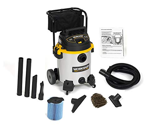 WORKSHOP WS1600SS Wet Dry Vacuum Cleaner, 16 Gallon, Stainless Steel 6.5-Peak (Complete Set), with Bonus Premium Microfiber Cleaner Bundle