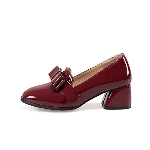 VogueZone009 Damen Mittler Rein Ziehen auf Lackleder Quadratisch Zehe Pumps Schuhe Weinrot