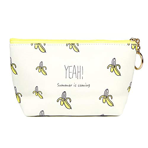 Me Plus Women Small Portable Travel Cosmetic Organizer Clutch Pouch Bag with Zipper Closure (Banana)