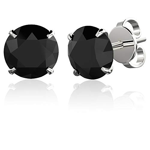 184b2cb813245 .925 Sterling Silver Hypoallergenic Black Cubic Zirconia Round  Brilliant-Cut Stud Earrings, 6mm
