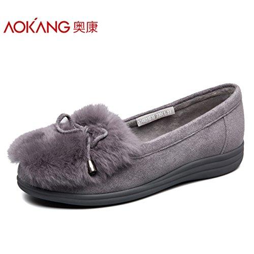 38 fondo de mujer Otoño femeninos zapatos de Invierno de Aemember algodón y de singles zapatos los Ocio plano mujer Colegio zapatos gris de e xqFXBXv