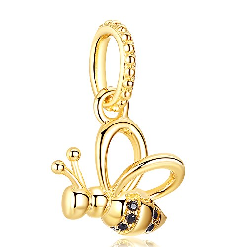 ANGELFLY 925 Sterling Silver Plated 14K Yellow Gold Bee Charms for Pandora Bracelets and Necklaces, Christmas Birthday for Mom Daughter Sister Teen Girls