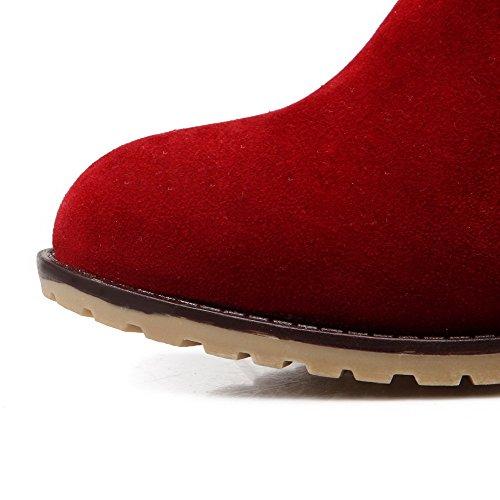 AllhqFashion Mujeres Puntera Cerrada Tacón Medio Esmerilado Caña Baja Sólido Botas Rojo